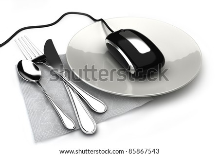 Ordering food online, concept with mouse on a plate ordering food,takeout or groceries online. On a white background - stock photo
