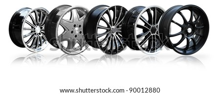 Orderly car alloy wheel various, isolated over white background. (Save path for design work) - stock photo