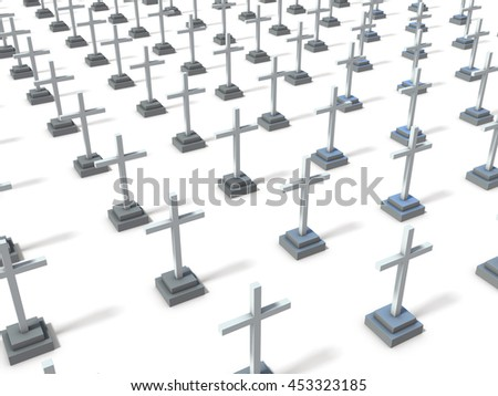 Orderly many lined graves. 3D illustration - stock photo