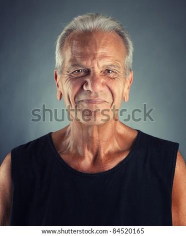 Ordinary Elderly Man Portrait - stock photo