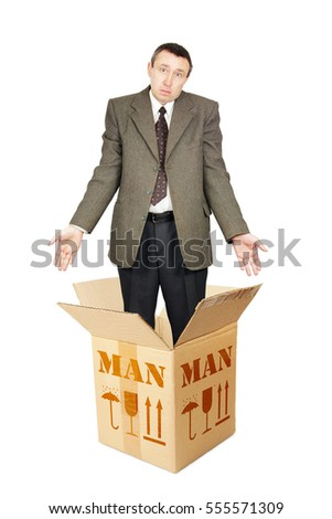 Ordinary man appears out from the cardboard box. Isolated over white