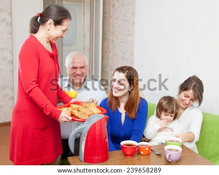 Ordinary three generations family  - stock photo