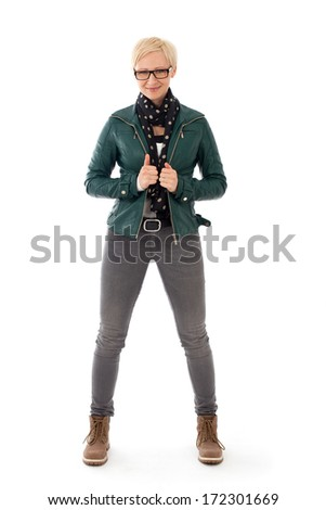 Ordinary young woman standing in casual outfit - stock photo
