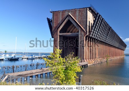 ore dock perspective,  Marquette,  Michigan - stock photo