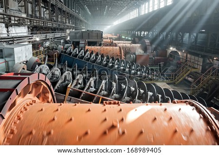 ore-dressing treatment with classifiers in mining-and-processing integrated work - stock photo