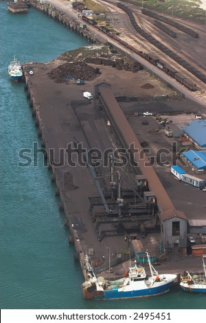 Ore Loading bay pier at the harbor - stock photo