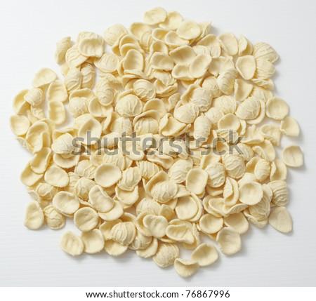 Orecchiette di Puglia, special pasta from south of Italy-Puglia. - stock photo
