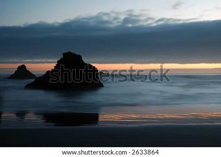 Oregon coast at sunset - stock photo