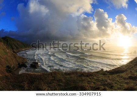 Oregon Coast Storm - stock photo