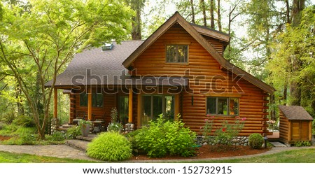Oregon Forest Modern Log Cabin  - stock photo