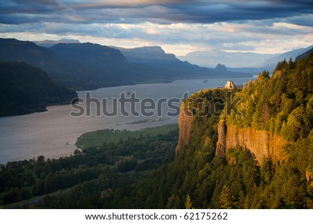 Oregon landscape - Crown Point overlooking the Columbia River and the Gorge - stock photo