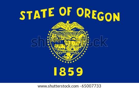 Oregon state flag of America, isolated on white background. - stock photo