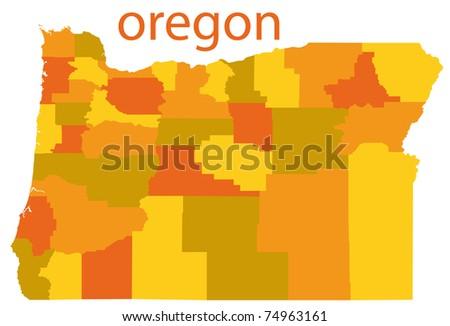 oregon state map, usa - stock photo