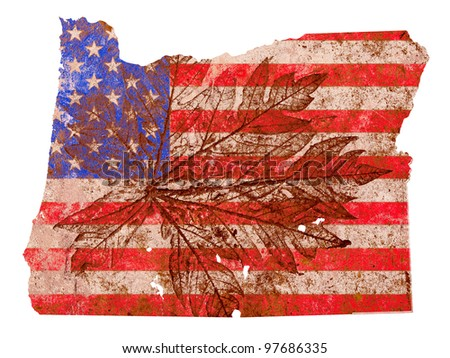 Oregon state of the United States of America in grunge flag pattern isolated on white background - stock photo