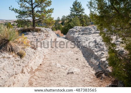 Oregon trail ruts near the town of Guernsey Wyoming.