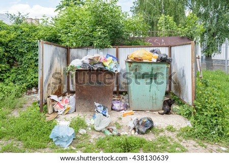 Orel, Russia - June 02, 2016: Garbage in the trash containers near the entrance to the Center for Hygiene and Epidemiology in the Oryol region - stock photo