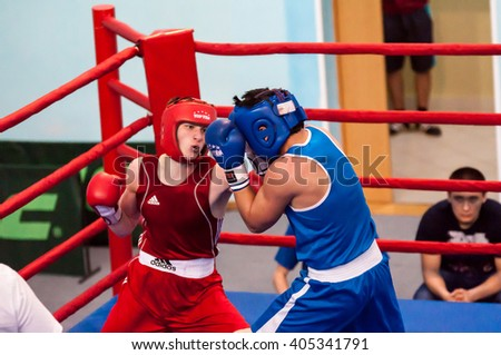 Orenburg, Russia - 1 may 2015: Boys compete in boxing
