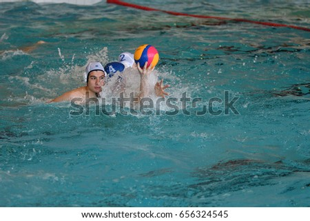 Orenburg, Russia-May 4, 2017 years: the boys play in water polo at the city water polo tournament