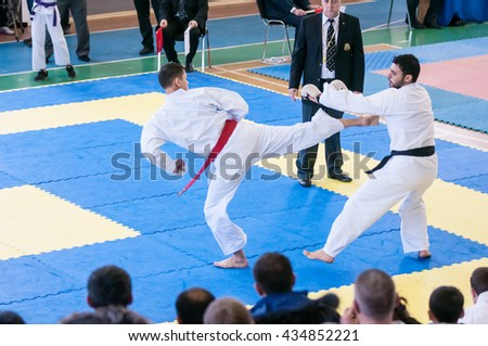 Orenburg, Russia - 28 November 2015: Boys compete in karate