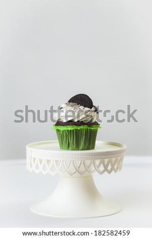 oreo cookie cupcake - stock photo