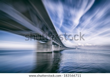 Oresund Bridge,oresunds bron, bridge on the sea  - stock photo