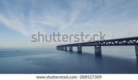 Oresund Bridge,oresunds bron, bridge on the sea ,architecture landscape in sweden