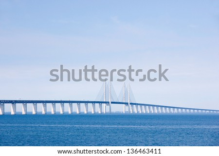 Oresunds bridge from the swedish side over to Denmark - stock photo