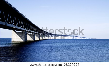 Oresunds bridge. The long and beautiful bridge between Sweden and Denmark called the Ã?resunds bridge.