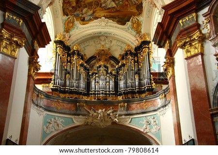 Organ in Altenburg church - stock photo