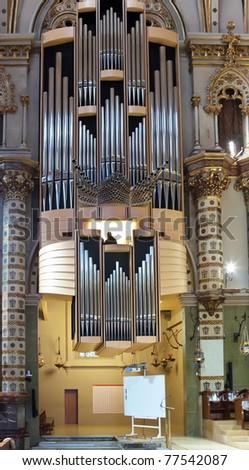 organ in Santa Maria de Montserrat church. Catalonia. Spain - stock photo