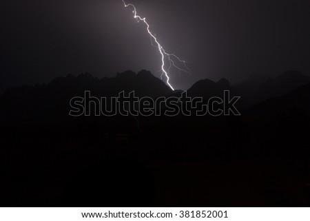 Organ Mountain Lightning Storm  - stock photo