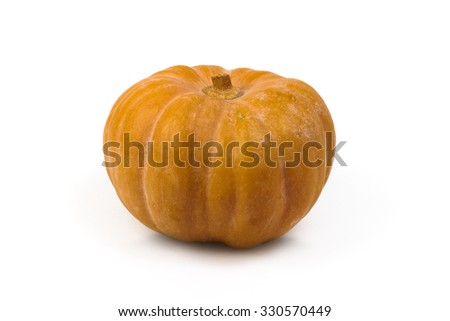 Organge Pumpkin on white background. Color studio Photography