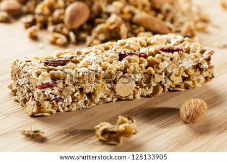 Organic Almond and Raisin Granola Bar on a background - stock photo