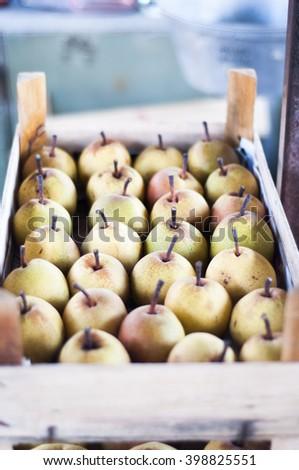 Organic Asian pear on a marketplace - stock photo