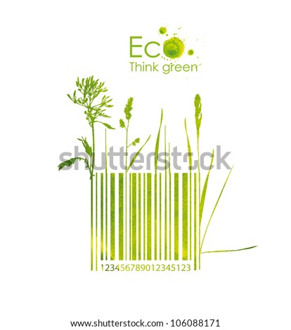 Organic barcode, hand drawn from watercolor stains, isolated on a white background. Think Green. Eco Concept. - stock photo