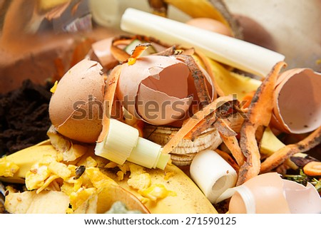 Organic biological kitchen waste, rotten food and leftovers from cooking, prepared for composting. Egg shells, pumpkin, banana and carrot peel.  - stock photo