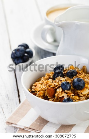 Organic Breakfast cereal with Nuts Milk and Berries - stock photo