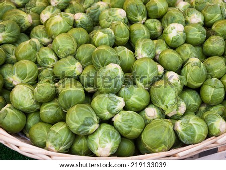 Organic Brussels sprouts  at farmer's market in Paris (France). - stock photo
