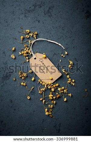 Organic chamomile flowers for tea  - stock photo