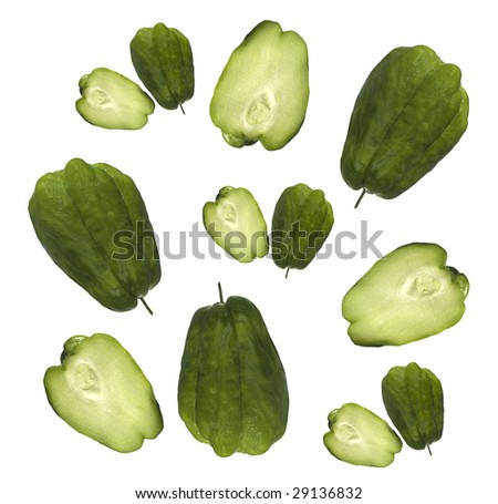 organic choko Sechium edule vegetable pears isolated on white