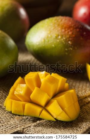 Organic Colorful Ripe Mangos on a Background - stock photo