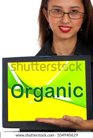 Organic Computer Message Shows Natural Online Food Or Crops - stock photo