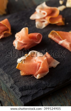Organic Dry Prosciutto Appetizer Ready to Eat - stock photo