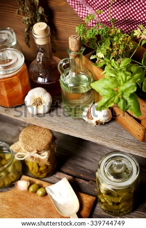 organic food and spices - stock photo