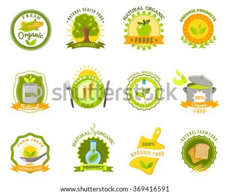 Organic food brands labels templates set flat - stock photo