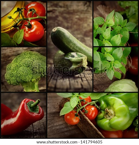 Organic Food concept. Fresh vegetables. Natural wood with freshly harvested vegetables: tomato, zucchini, herbs, spices, olive oil, pepper and broccoli. - stock photo