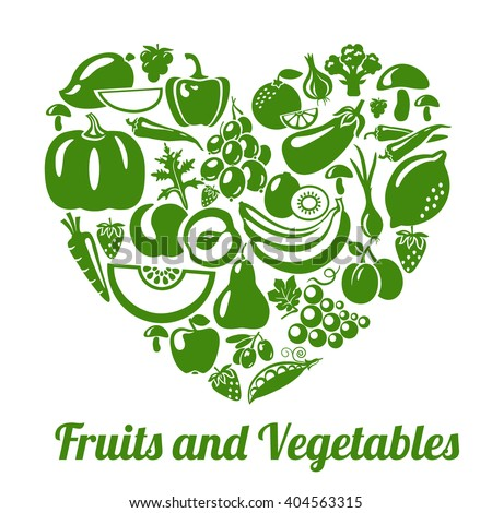 Organic food concept. Heart shape with organic vegetables and fruits icons. Organic fruits and vegetables illustration. Organic food Logo concept