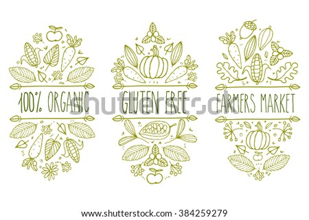 Organic food, gluten free, farmers market menu logo. Superfood Hand drawn organic market doodle sketch typographic. Nature gluten free product label. Leaf, vegetable, fruit hand made label badge food. - stock photo