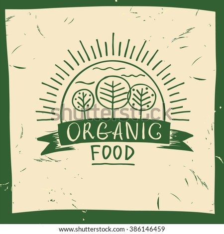 Organic food. Hand drawn three fruit trees and the sun. The garden, growing the crop. Lettering organic food logo. - stock photo