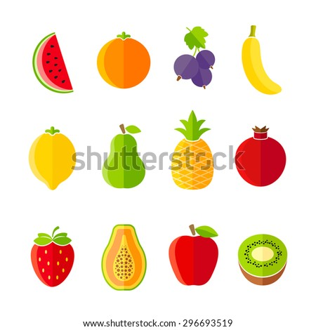 Organic fresh fruits and berries icon set flat design - stock photo
